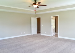 Large master bedroom with tray ceiling.